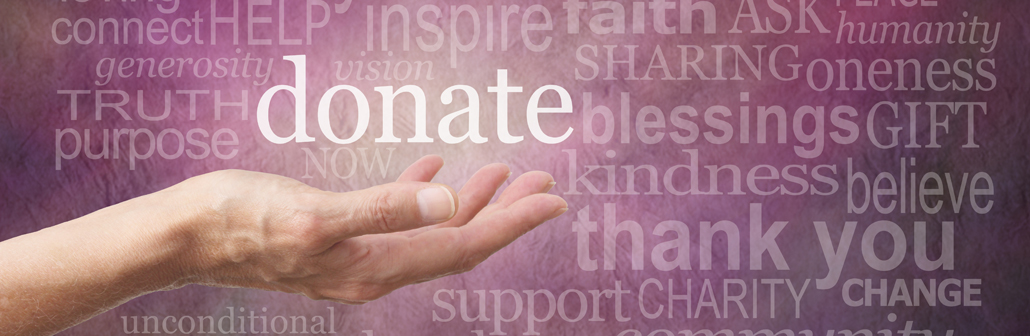 Female hand outstretched with palm side up and a white 'donate' word floating above surrounded by different sized words related to charity on a purple stone effect background